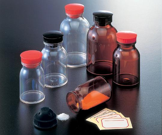 散薬瓶 150mL 茶褐色 キャップ赤 1本 150mL(茶褐色)