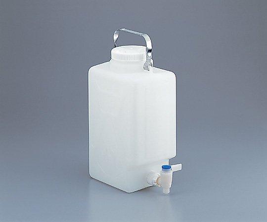 フッ素加工活栓付角型大型瓶 (HDPE製)