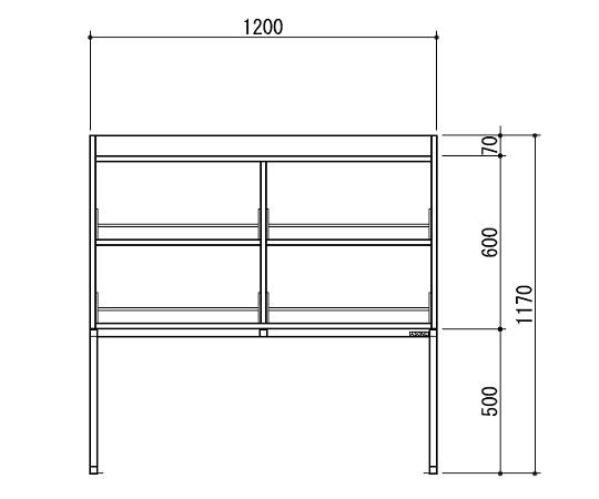 [取扱停止]試薬棚(スチールタイプ) TOB-1200-SB