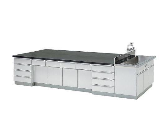 中央実験台 木製タイプ・ケコミ型・側面流し台付き 2400×1200×800 SAOB-2412