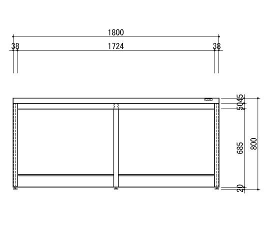 中央実験台 木製ホワイトタイプ・引出し無し・フレ-ム型 1800×1200×800 HAO-1812W