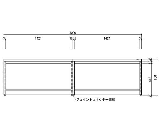 中央実験台 木製ホワイトタイプ・引出し無し・フレ-ム型 3000×1200×800 HAO-3012W