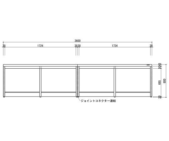 中央実験台 木製ホワイトタイプ・引出し無し・フレ-ム型 3600×1200×800 HAO-3612W