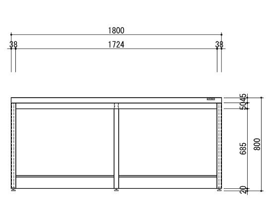 中央実験台 木製ホワイトタイプ・引出し無し・フレ-ム型 1800×1500×800 HAO-1815W