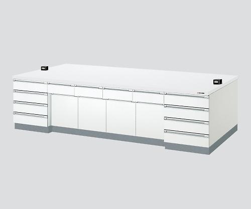 中央実験台 木製ホワイトタイプ・ケコミ型 2400×1200×800 SAO-2412CBW