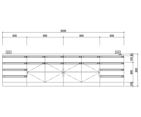 中央実験台 木製ホワイトタイプ・ケコミ型 3000×1200×800 SAO-3012CBW