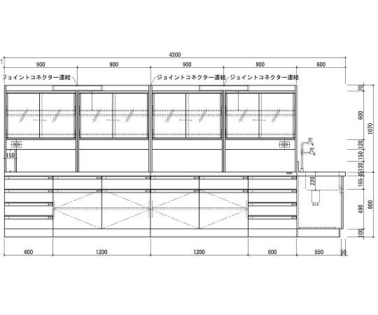 中央実験台 木製ホワイトタイプ・ケコミ型・側面流し台・試薬棚付き 4200×1200×800/1870 SAN-4212EGW