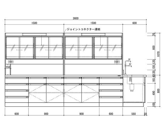 中央実験台 木製ホワイトタイプ・ケコミ型・側面流し台・試薬棚付き 3600×1500×800/1870 SAN-3615EGW