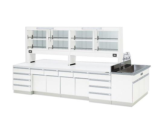 中央実験台 木製ホワイトタイプ・ケコミ型・側面流し台・試薬棚付き 4200×1500×800/1870 SAN-4215EGW
