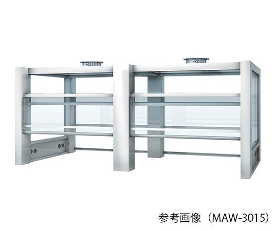 アルミ製実験台 フード (両面タイプ・バランスサッシ式・LED照明付き) 1500×1500×1500mm MAW-1515L