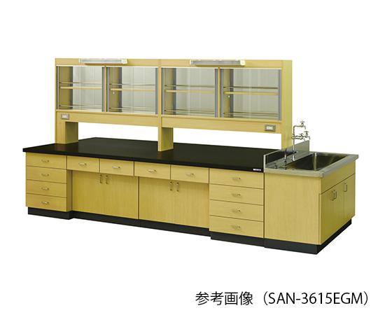 中央実験台 (木目調タイプ) 3600×1500×800/1870 mm SAN-3615EGM