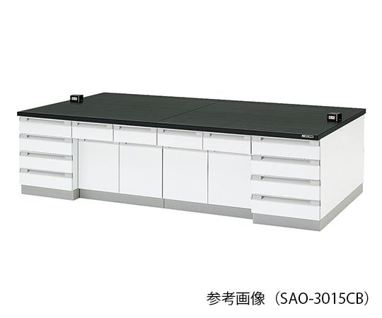 中央実験台 (木製タイプ) 3000×1500×800 mm SAO-3015CB