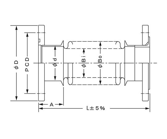 真空用フレキシブルチューブ (JISフランジ) VFP3065×1000