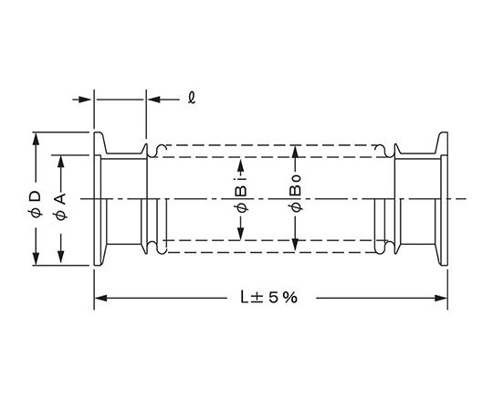 真空用フレキシブルチューブ (NW-KF) VFP1025×500