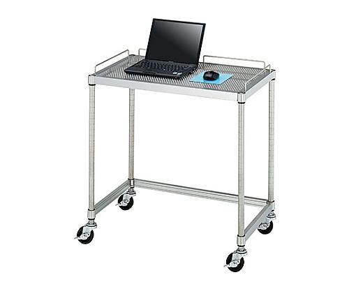 PCテーブル 導電ゴムキャスター (SUS304・パンチング棚一段・導電ゴム車仕様) 750×450×750