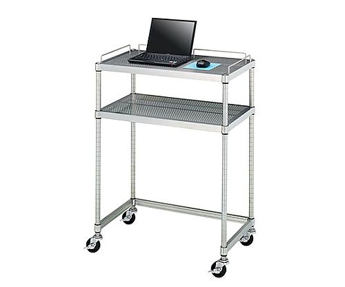 PCテーブル 導電ゴムキャスター (SUS304・パンチング棚二段・導電ゴム車仕様) 750×450×1000 AS001-N03