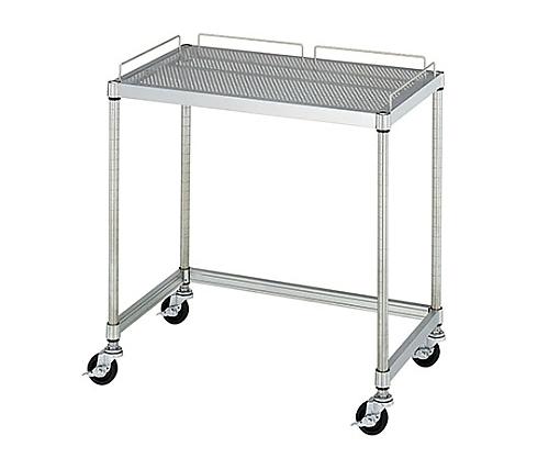 PCテーブル 導電ゴムキャスター (SUS430・パンチング棚一段・導電ゴム車仕様) 750×450×750