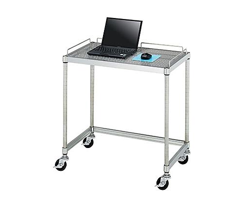PCテーブル 導電ゴムキャスター (SUS430・パンチング棚一段・導電ゴム車仕様) 750×450×750 AS001-C01