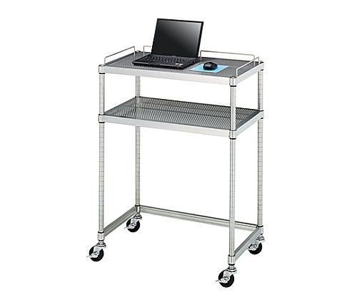 PCテーブル 導電ゴムキャスター (SUS430・パンチング棚二段・導電ゴム車仕様) 750×450×1000