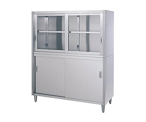 戸棚 (SUS430・二段式・上部ガラス扉・下部ステンレス扉仕様)
