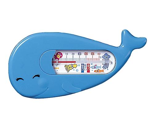 お風呂用温度計 くじら型青色
