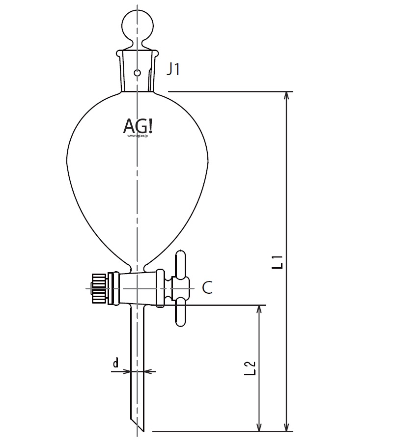 球形分液ロート PTFEコック 3702シリーズ