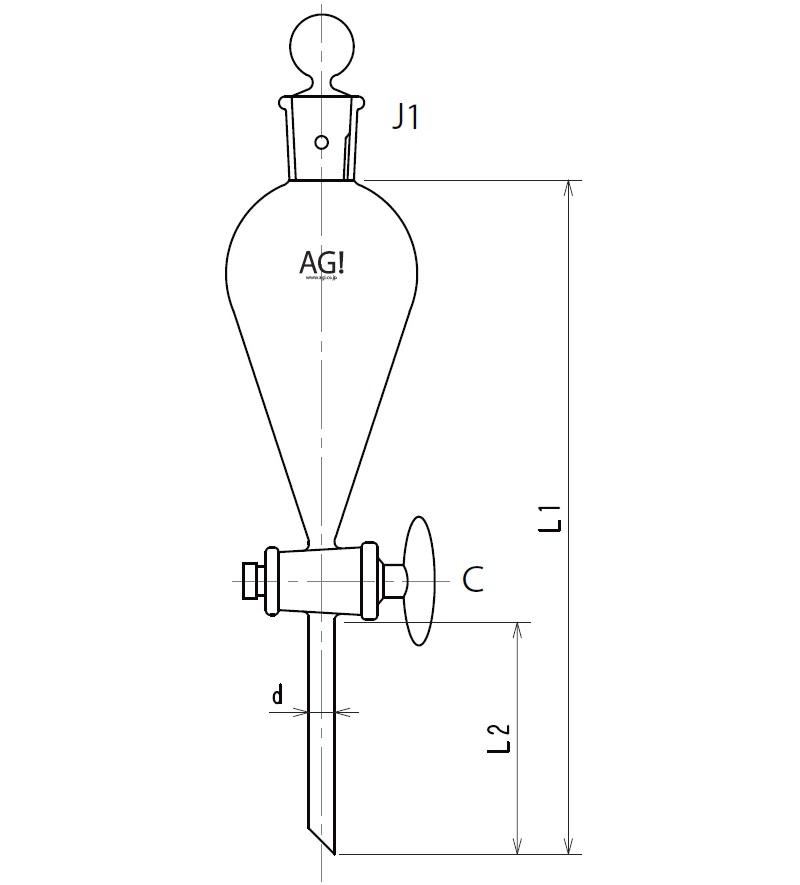 スキーブ形分液ロート ガラスコック 3708シリーズ