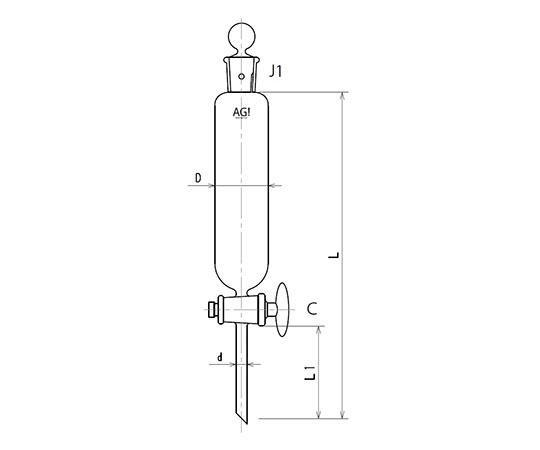 [取扱停止]円筒形分液ロート ガラスコック 3724シリーズ