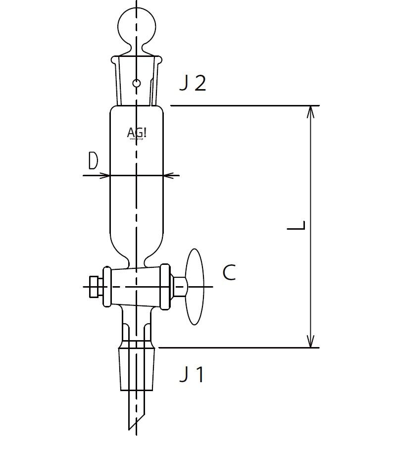 [取扱停止]セミ・ミクロ 円筒形摺付分液ロート ガラスコック