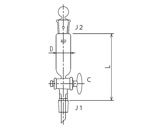 [取扱停止]セミ・ミクロ 円筒形摺付分液ロート ガラスコック 3732シリーズ