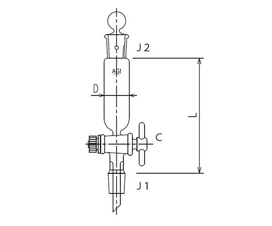 セミ・ミクロ 円筒形摺付分液ロート PTFEコック 3734シリーズ