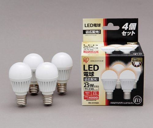 [取扱停止]LED電球 E17広配光 230lm4個セット 電球色 LDA3L-G-E17-V3-4P 566927/LDA3L-G-E17-V3-4P
