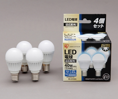 [取扱停止]LED電球 E17広配光 440lm4個セット 昼白色 LDA5N-G-E17-V3-4P 566928/LDA5N-G-E17-V3-4P