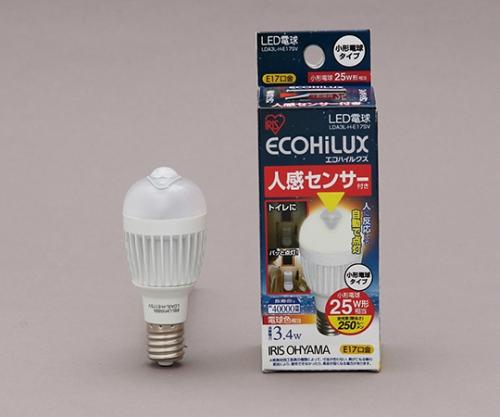 [取扱停止]LED電球 人感センサー付 小形電球 垂直取付タイプ 電球色 250lm LDA3L-H-E17SV 558713/LDA3L-H-E17SV