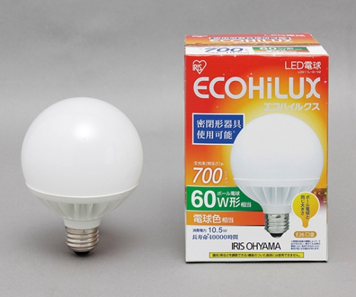 [取扱停止]LEDボール球 60W 電球色 700lm LDG11L-G-V2 566437/LDG11L-G-V2