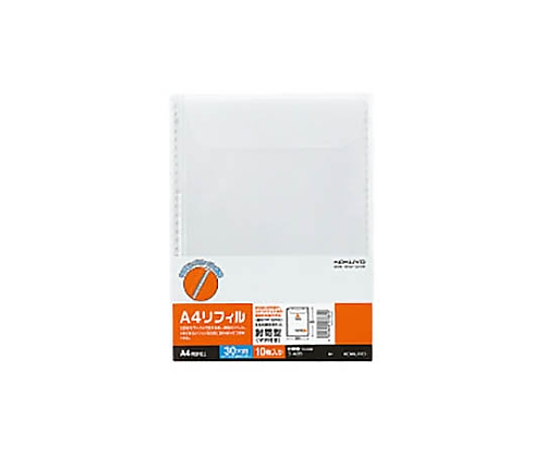 クリヤーブック替紙 封筒型(マチ付き) A4縦 30穴 10枚入 ラ-A35