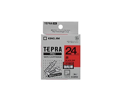 テプラPROテ-プ 強粘着ラベル 赤に黒文字 24mm SC24RW