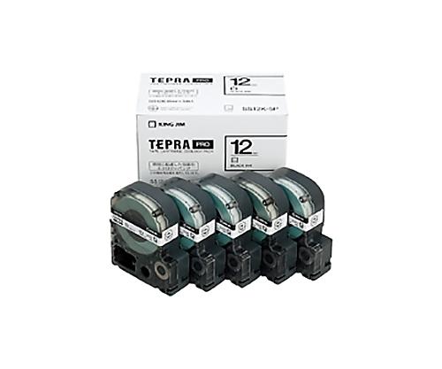 テプラPROテ-プ エコパック 5個入り 白に黒文字 12mm SS12K-5P