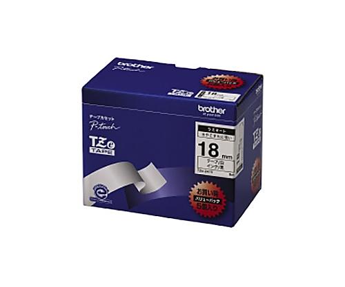 ピータッチ用TZeテープカセット 白に黒文字18ミリ幅 5本パック TZE-241V