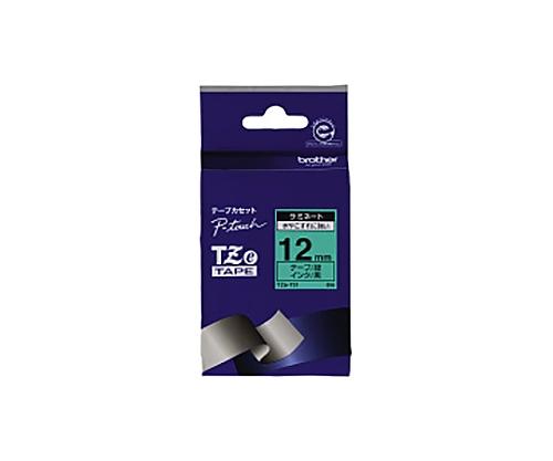 ピータッチ用TZeテープカセット 緑に黒文字12ミリ幅 TZE-731