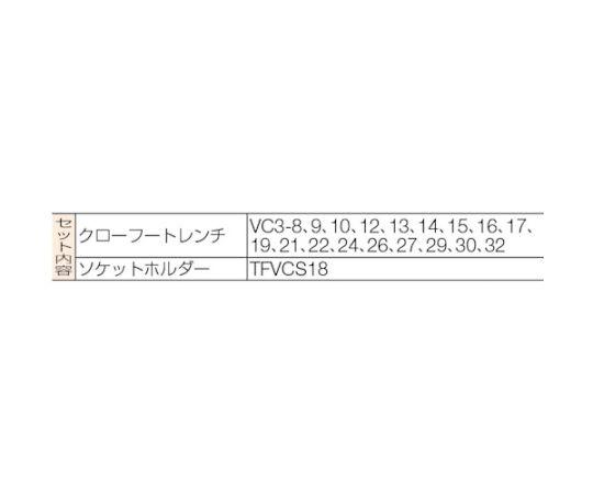 18pcs 3/8sqdr クローフートレンチセット VCS3180
