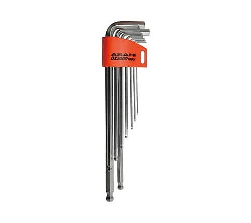ロングボールポイント六角棒レンチセット9本組 1.5-10mm AQS0910