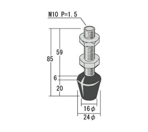 ゴム付ボルト M10X59 RBT10