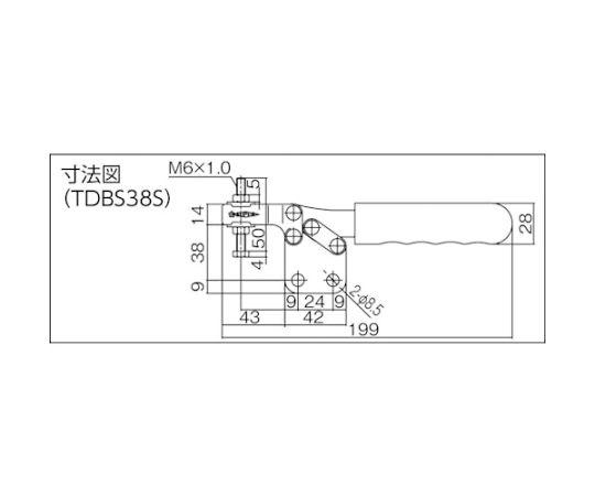 下方押え型トグルクランプ(水平ハンドル式)全長199mm 締付力2.5kN TDBS38S