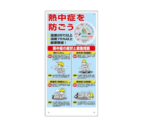 熱中症対策標識 温湿度計付  HO18