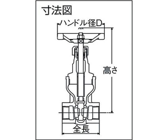 ゲートバルブ(10K・マレアブル鋳鉄) 呼び径(A):20×呼び径(B):3/4 HM10KSS20A