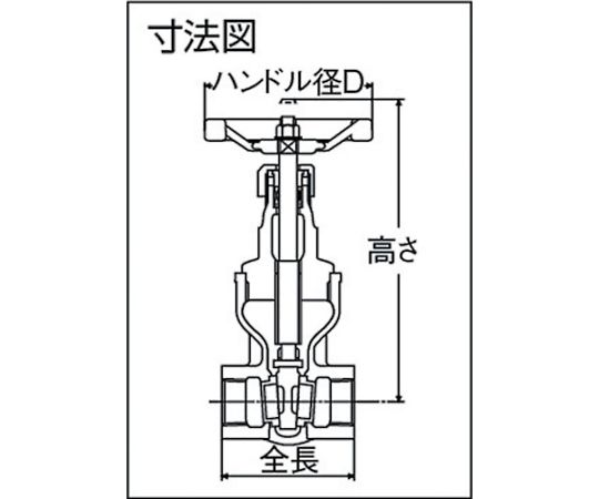 ゲートバルブ(10K・マレアブル鋳鉄) 呼び径(A):40×呼び径(B):1・1/2 HM10KSS40A