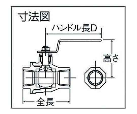 ねじ込みボールバルブ 全長108mm 呼び径(A)40 316SFVM40A