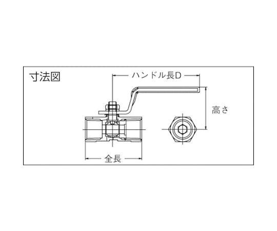 ねじ込みボールバルブ レデュースボア レバーハンドルタイプ SUS316 呼び径(A):15×呼び径(B):1/2 316SRVM15A