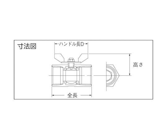 蝶ハンドルタイプねじ込みボールバルブ(800型・レデューストボアタイプ・ステンレス) 呼び径(A):10×呼び径(B):3/8 316SRVMB10A